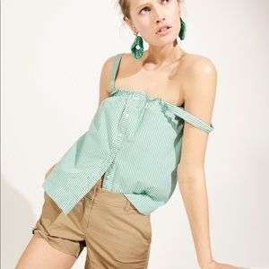 New J Crew Button front ruffle cami top